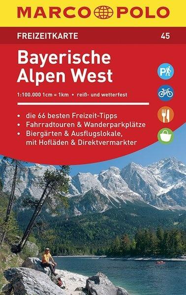 wegenkaart landkaart 45 freizeitkarte bayerische alpen west marco polo 9783829743457. Black Bedroom Furniture Sets. Home Design Ideas