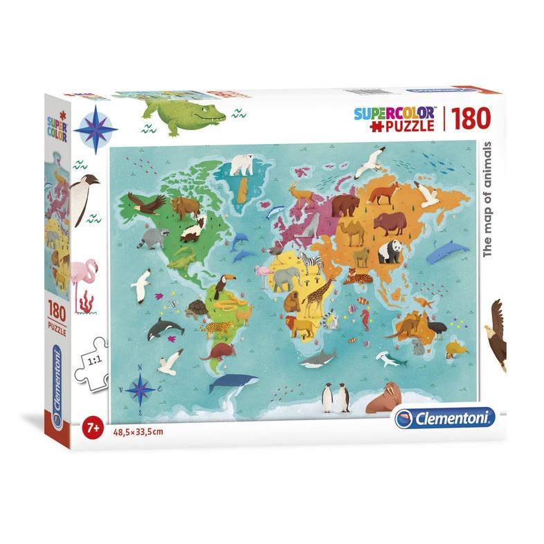 Wereldkaart puzzel voor kinderen (160 stukjes) cover
