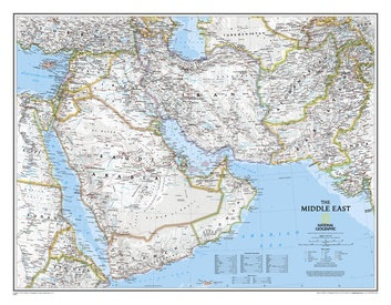 Wandkaart Middle East - Midden Oosten 76 x 58 cm | National Geographic