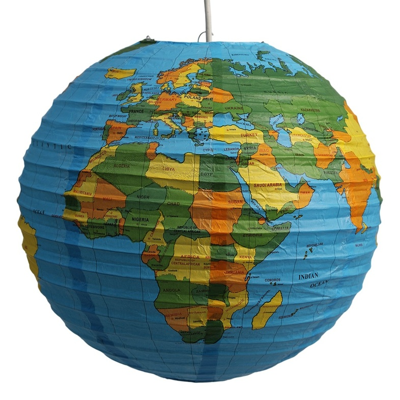 Lamp met wereldkaart 5027455379722 reisboekwinkel de zwerver - Huis lamp wereld nachtkastje ...