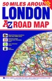 Wegenkaart - landkaart 50 Miles Around London Road Map | A-Z Map Company