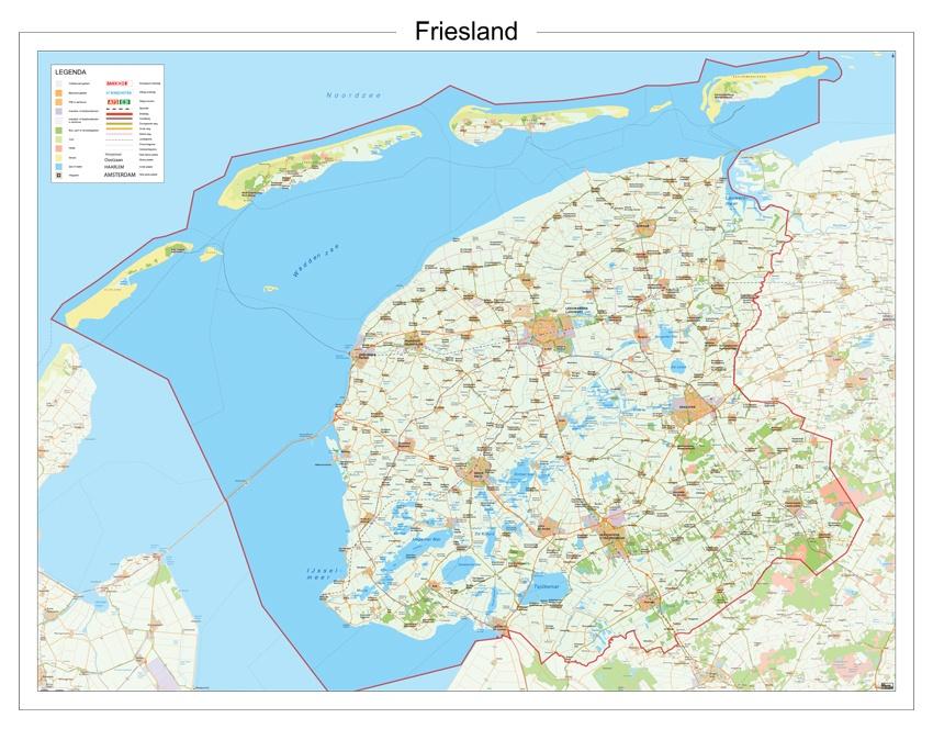 Wandkaart Provincie Friesland 112 X 90 Cm 12 Provincien