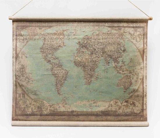 Super Wereldkaart op linnen met houten stokken | Van Manen CZ-51