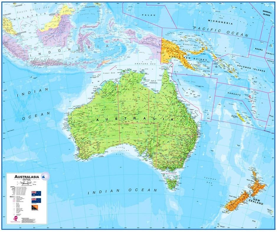 Nieuw zeeland en deel oceani 235 120 x 100 cm maps international