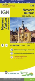 Fietskaart - Wegenkaart - landkaart 135 Nevers - Autun - Morvan | IGN - Institut Géographique National