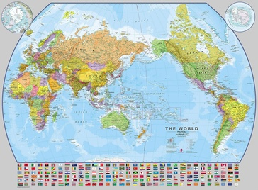 Wereldkaart World pacific-centred wall map, 136 x 100 cm | Maps International