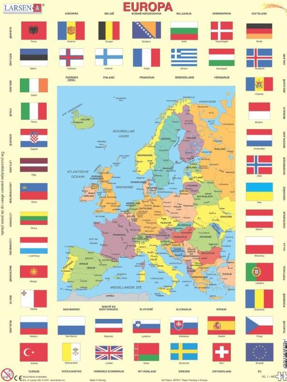 puzzel europa met vlaggen larsen 7023850231014