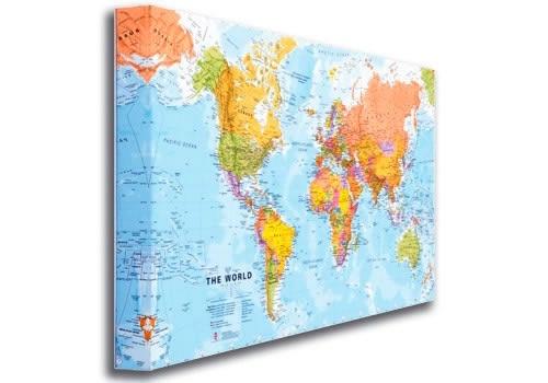 Verwonderlijk Wereldkaart op canvas, politiek 116 x 81 cm | Maps International QO-59