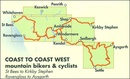 Fietskaart mountainbike Coast to Coast WEST | Harvey Maps