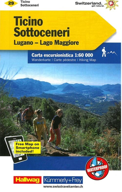 Wandelkaart 29 Tessin Sottoceneri Lugano Lago Maggiore