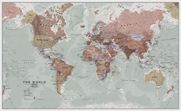 Wereldkaart 97 World executive political, 136 x 84 cm | Maps International
