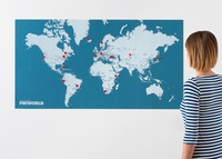 Pin world Wall Map - pin wereldkaart blauw SMALL 85 x 46 cm | Palomar