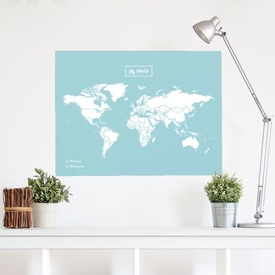Wereldkaart van kurk Woody Map XL Color Blauw - Wit | Miss Wood