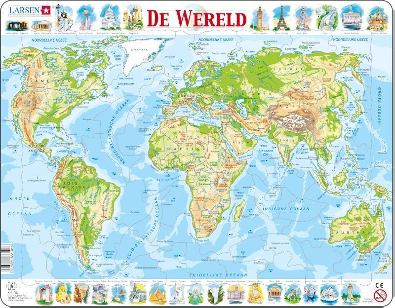 Legpuzzel de wereld natuurkundig larsen 7023850221046 reisboekwinkel de zwerver - Salontafel herbergt de wereld ...