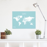 Woody Map L Color Blauw - Wit