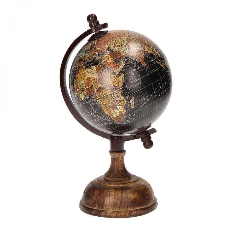 Wereldbol globe zwart op houten voet 25 cm 8713219329108 reisboekwinkel de zwerver - Houten lamp vloot huis van de wereld ...