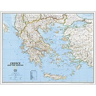 Wandkaart landkaart greece griekenland national geographic plano