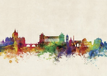 Stadskaart Rome City Skyline, 84 x 59 cm | Maps International