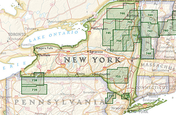 Overzicht Wandelkaarten New York Trails Illustrated National Geographic