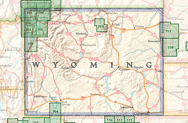 Overzicht Wandelkaarten Wyoming Trails Illustrated National Geographic