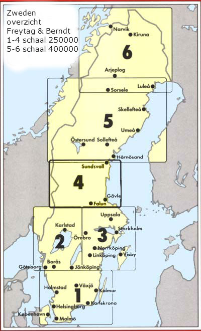 Wegenkaart landkaart 04 schweden mitte sundsvall falun g vle zweden midden freytag - Tafel stockholm huis ter wereld ...