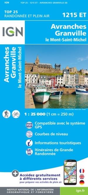 Wandelkaart - Topografische kaart 1215ET Avranches, Granville, Le Mont Saint Michel | IGN - Institut Géographique National de zwerver