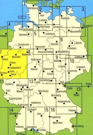 Wegenkaart Landkaart 07 Ruhrgebiet Koln Munster Falk