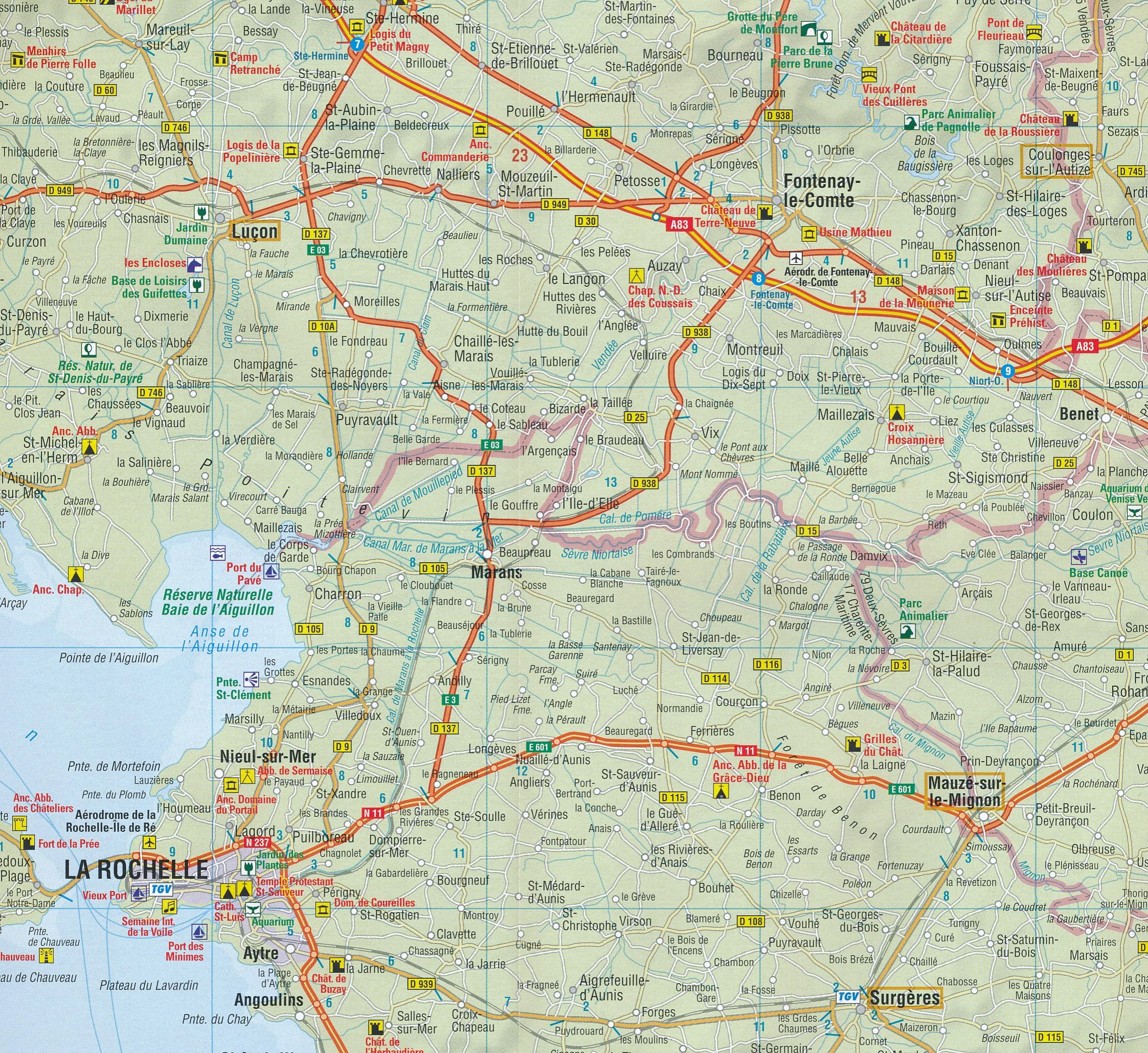 Wegenkaart Landkaart 10 Atlantische Kust Pyreneeen West Anwb