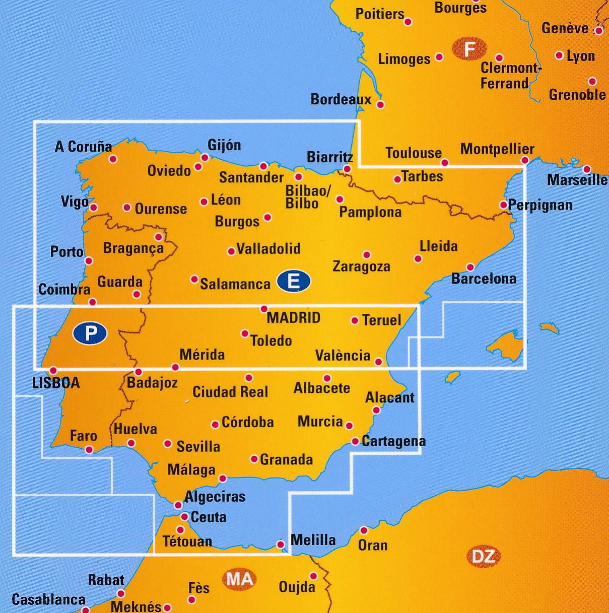 Wegenkaart Landkaart 1 Spanje En Portugal Anwb Media