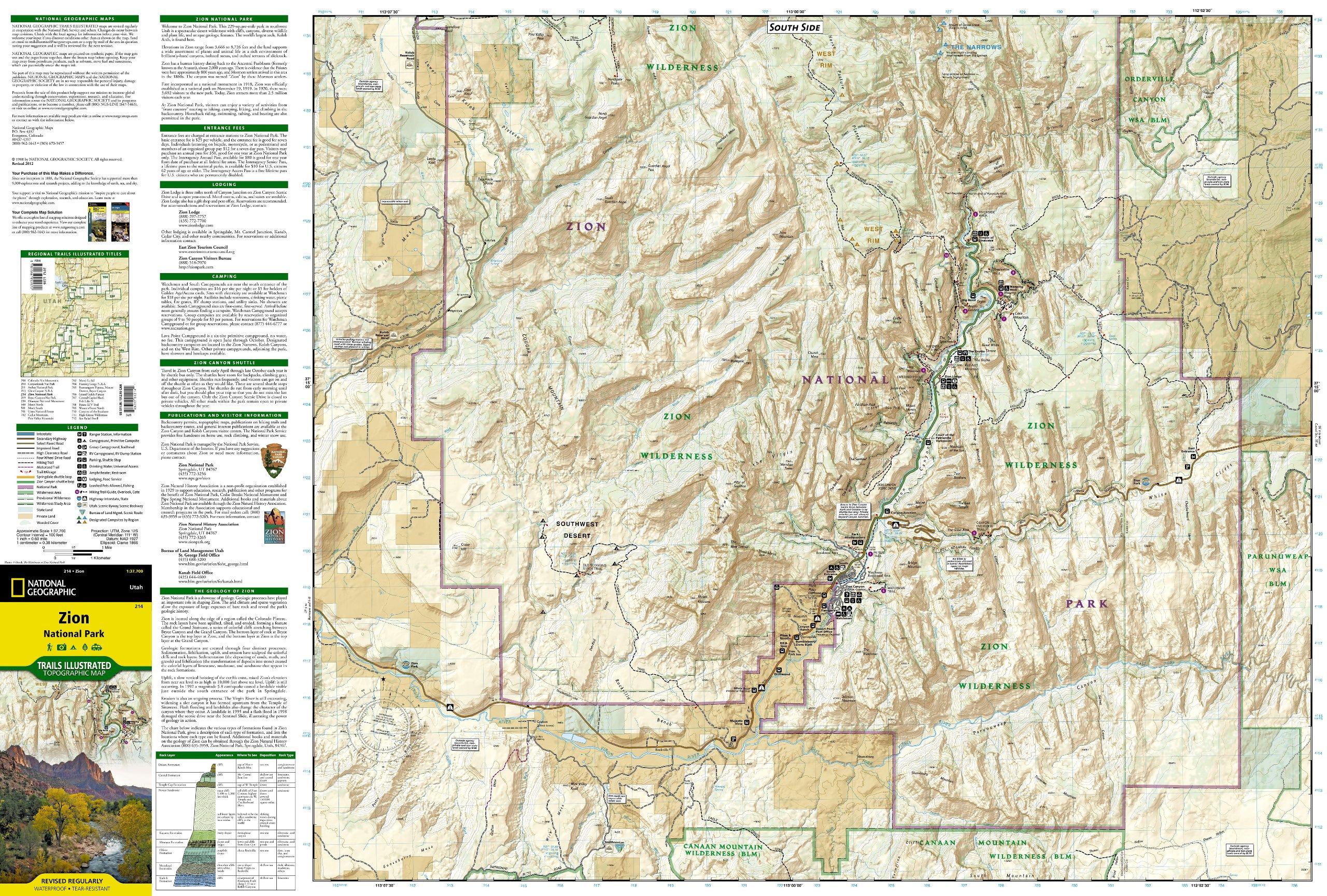 Wandelkaart  Topografische kaart 214 Trails Illustrated Zion