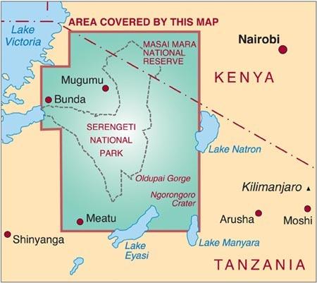 Wegenkaart Landkaart Serengeti Masai Mara Ngorogoro