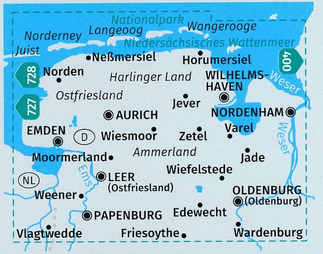 Wandelkaart 410 Ostfriesland Oldenburg Kompass 9783990444313