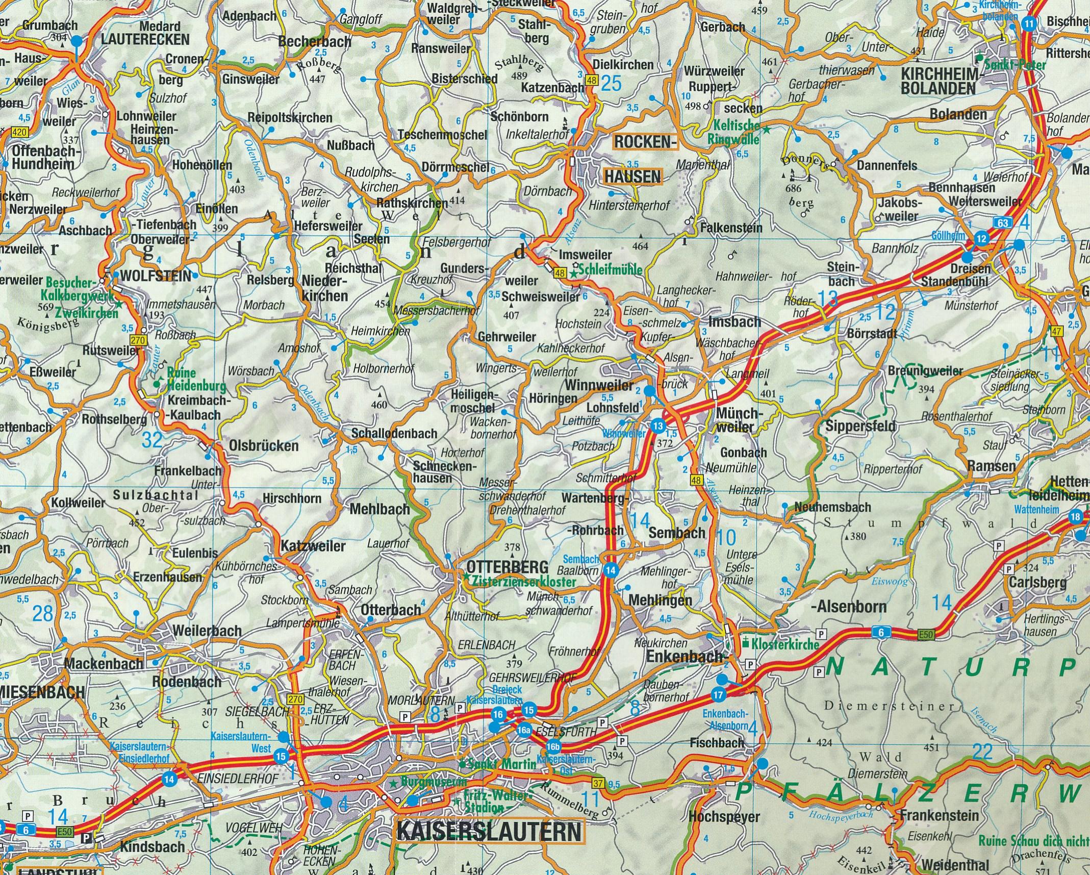 Wegenkaart Landkaart 7 Eifel Moezel Rijn Rheinland Pfalz