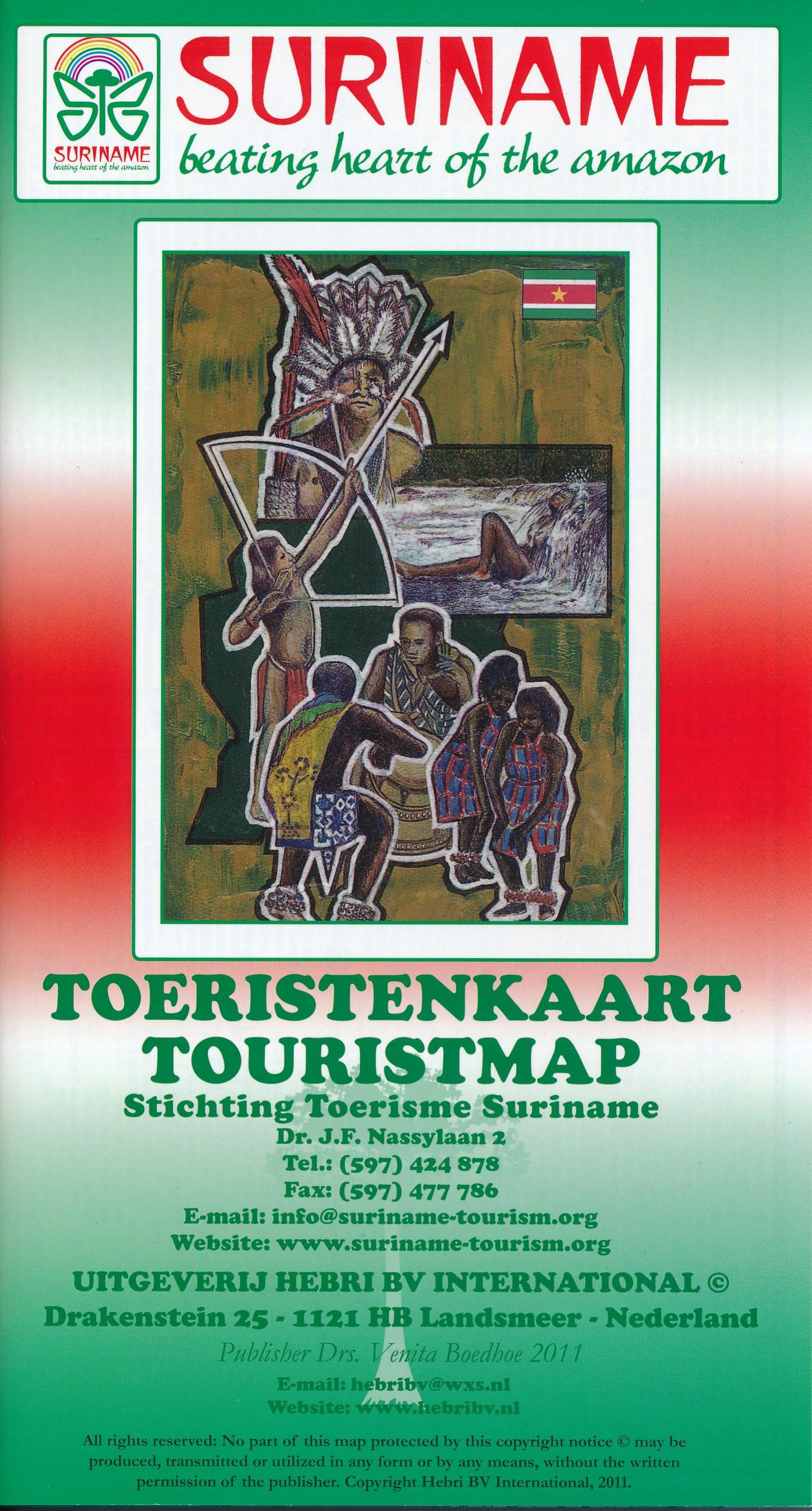 Online bestellen: Wegenkaart - landkaart Suriname & Paramaribo | Hebri