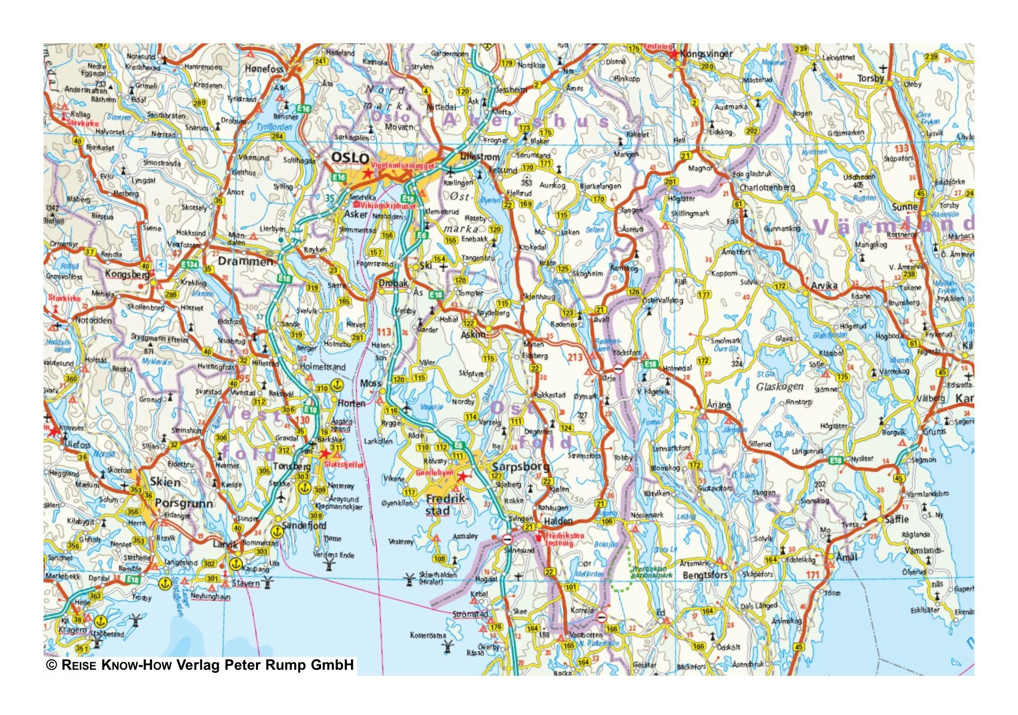 Landkaart wegenkaart Zuid Zweden en Zuid Noorwegen Reise Know How