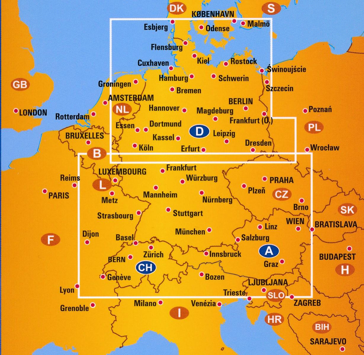 Wegenkaart Landkaart 1 Duitsland Zwitserland Oostenrijk