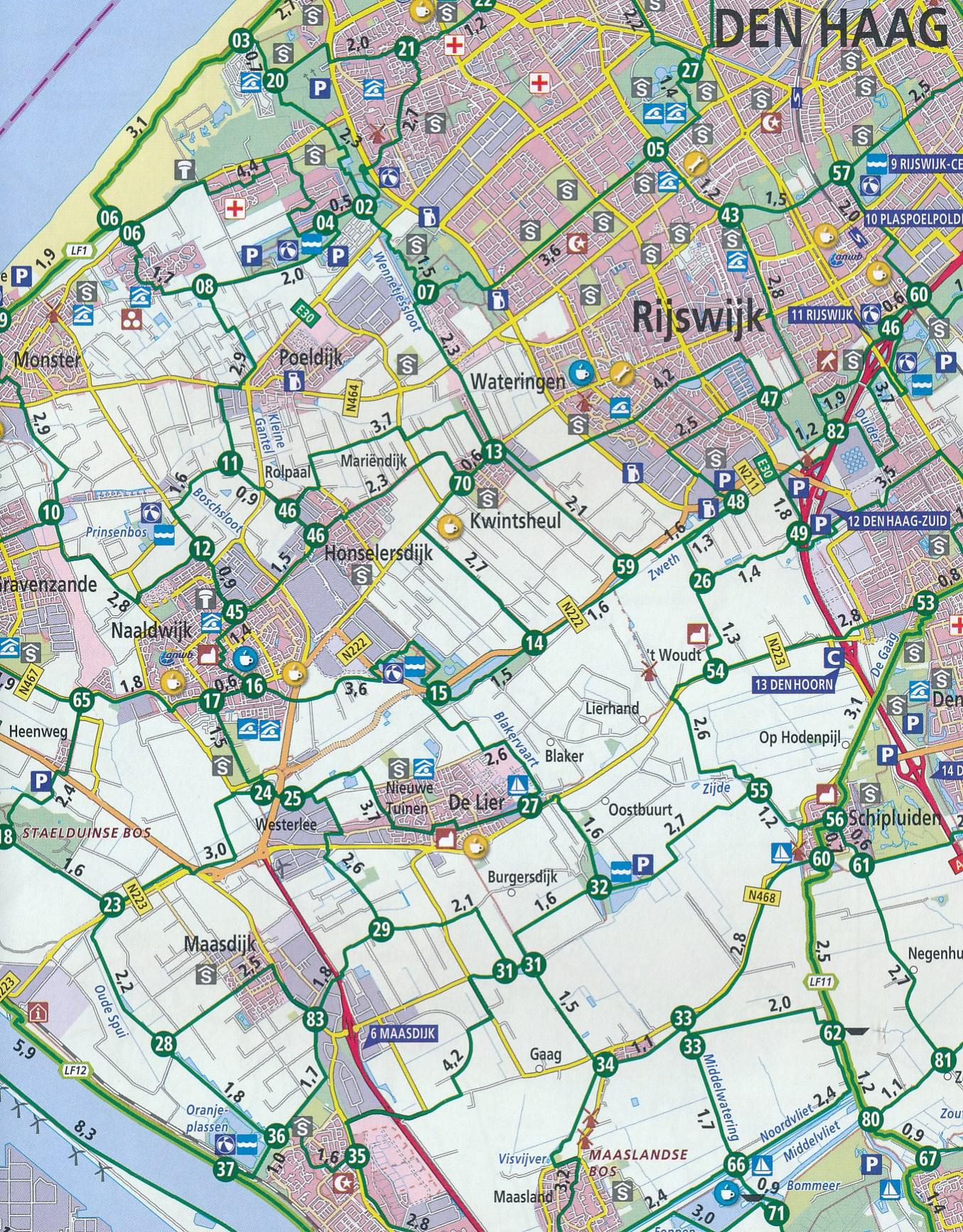 Fietskaart 6 Knooppuntenkaart Zuid-Holland en Noord-Holland zuid | ANWB  Media