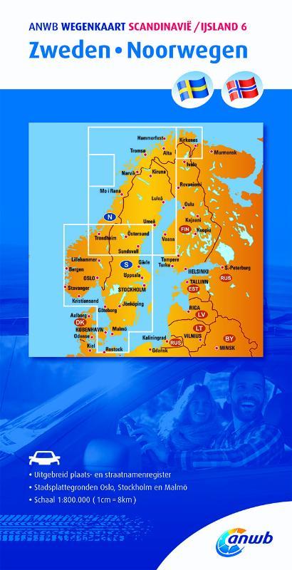 Wegenkaart - landkaart 6 Zweden - Noorwegen | ANWB Media