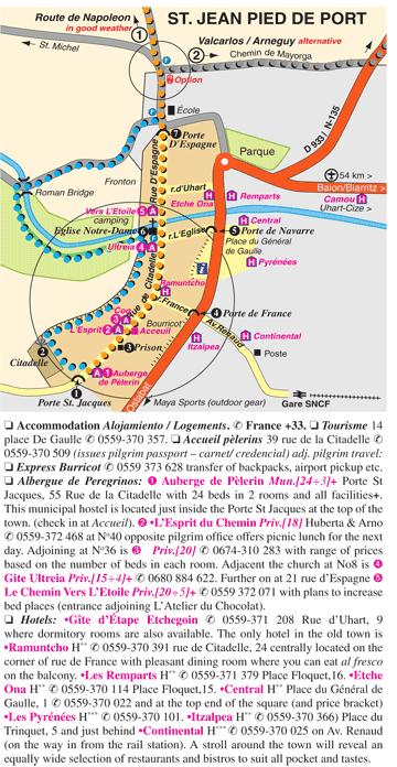 Wandelgids pelgrimsroute wandelkaart camino de - St jean pied de port to santiago distance ...