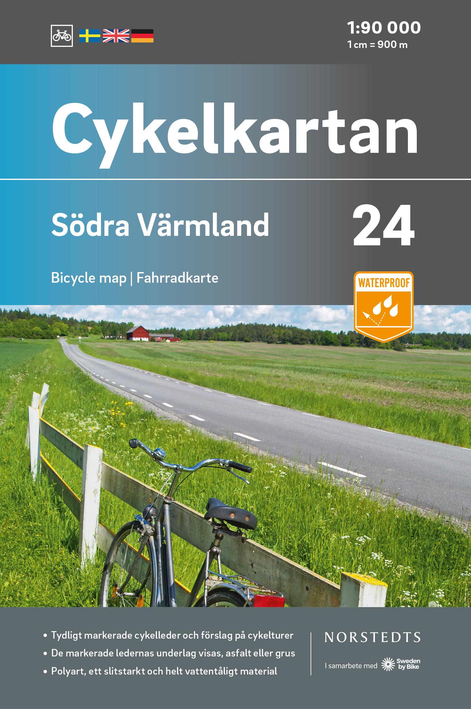 Fietskaart 24 Cykelkartan Södra Värmland - zuid Varmland | Norstedts