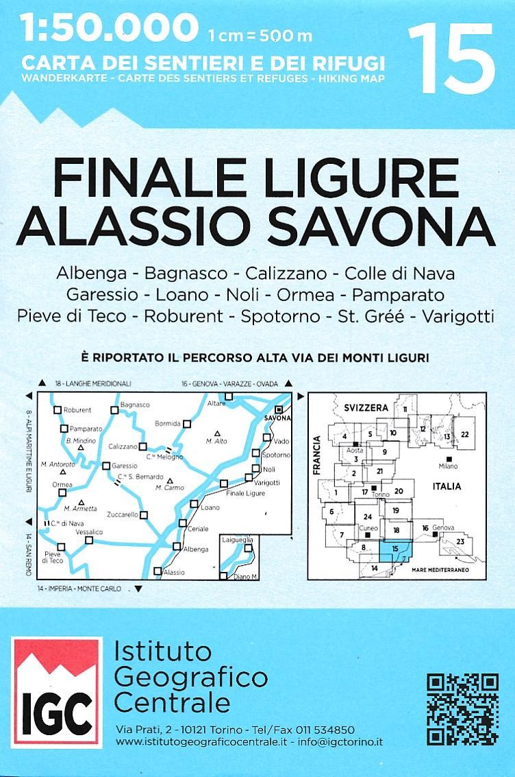 Wandelkaart 15 Finale Ligure Alassio Savona | IGC