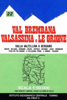 Wandelkaart 22 Val Brembana, Valsassina e le Grigne | IGC