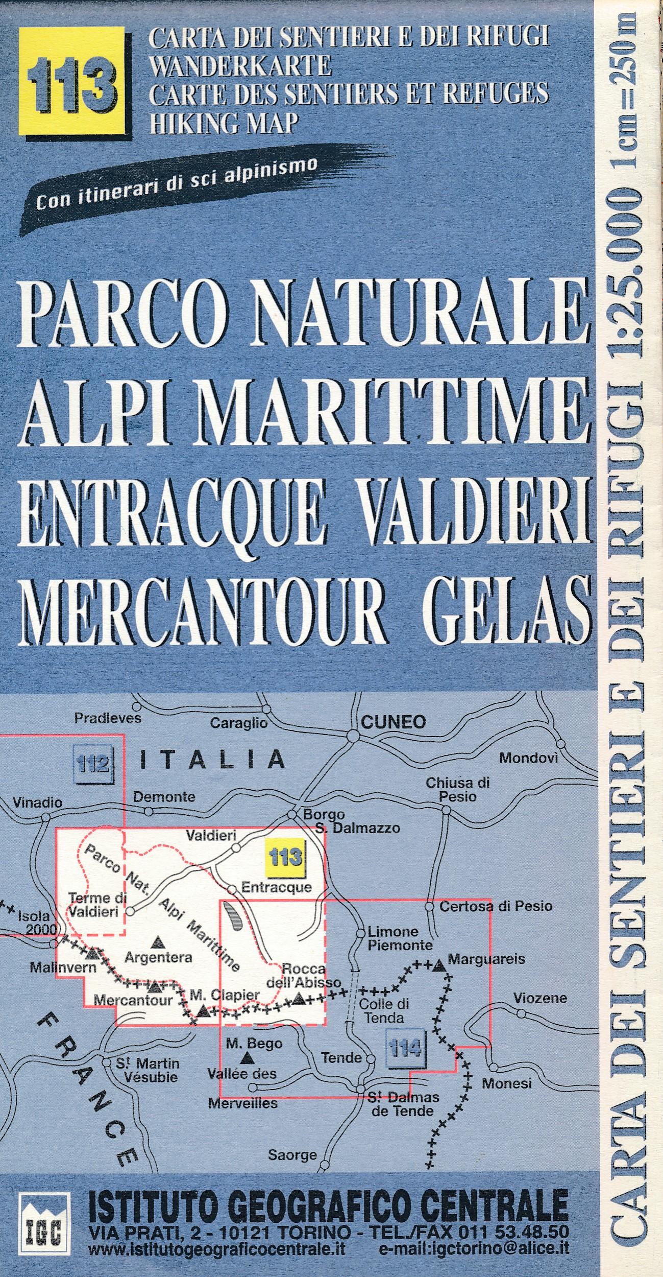Wandelkaart 113 Parco Naturale Alpi Marittime - Maritieme Alpen / Mercantour | IGC