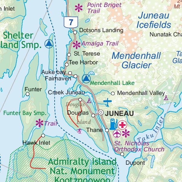 Wegenkaart Landkaart Alaska S Inside Passage Itmb 9781553410904 Reisboekwinkel De Zwerver