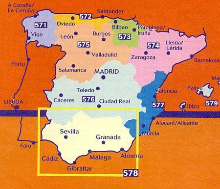 Wegenkaart Landkaart 578 Andalusie Malaga Granada Sevilla