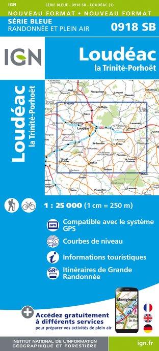 Topografische kaart - Wandelkaart 0918SB La Trinité-Porhoët, Loudeac | IGN