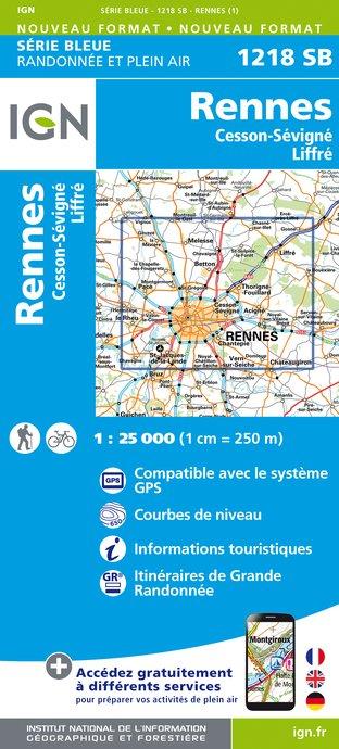 Wandelkaart - Topografische kaart 1218SB Rennes - Cesson-Sévigné - Liffré | IGN