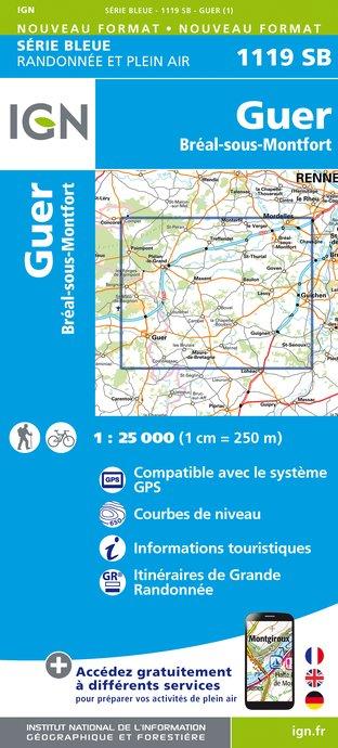 Topografische kaart - Wandelkaart 1119SB Bréal-sous-Montfort, Guer | IGN