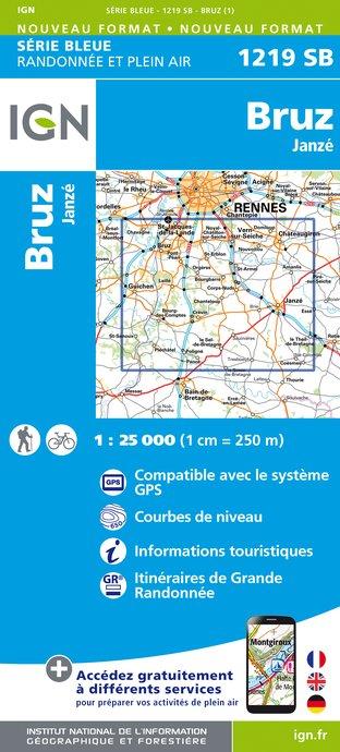 Wandelkaart - Topografische kaart 1219SB Bruz - Janzé | IGN