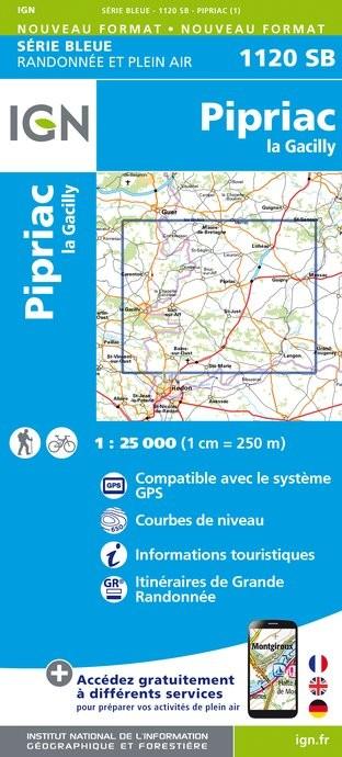 Wandelkaart - Topografische kaart 1120SB Pipriac - La Gacilly | IGN